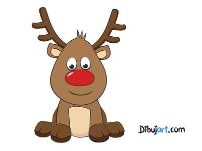 Como dibujar a Rodolfo el Reno! (El reno de papa noel) — Dibujos de Navidad