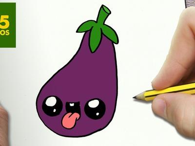 COMO DIBUJAR BERENJENA KAWAII PASO A PASO - Dibujos kawaii faciles - How to draw a EGGPLANT