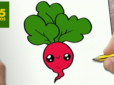 COMO DIBUJAR RABANO KAWAII PASO A PASO - Dibujos kawaii faciles - How to draw a RADISH