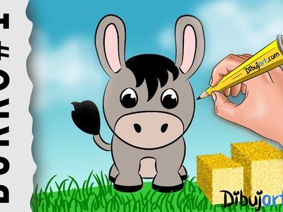 Cómo dibujar un Burro fácil paso a paso #1 — Dibujos de la Granja para niños