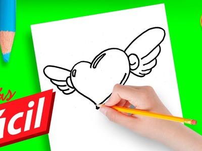 Dibujos de Amor Fáciles de Hacer Paso a Paso | How to Draw a Simple Love Heart With Wings