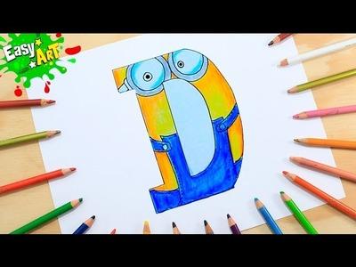SACAR UN DIBUJO DE LA LETRA D ESTILO MINIONS│Dibujos fáciles Easy Art