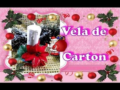 Adorno Navideño reciclado: Vela de rollo de carton -DelCarmenArtesanal-