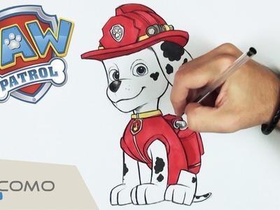 Cómo dibujar a Marshall de Patrulla Canina - Dibujos de Paw Patrol