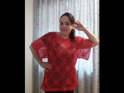 Blusa Roja tejida parte 1