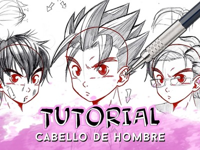 COMO DIBUJAR PELO ANIME.MANGA DE HOMBRE PASO A PASO (CON BRILLO Y PELO DRAGON BALL) | Why So Gurin