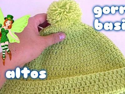 GORRO BASICO DE PUNTOS ALTOS.How to crochet a basic beanie hat