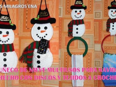 Muñeco de Nieve  Snowman Multiusos para Navidad Hecho con Discos y Tejidos