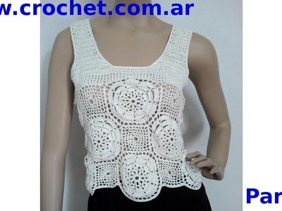 Blusa con Flores Parte 2 en tejido crochet tutorial paso a paso.