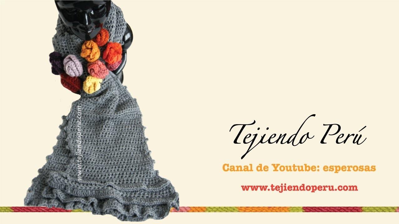 Bufanda con bobos y flores tejida a crochet (Parte 1)