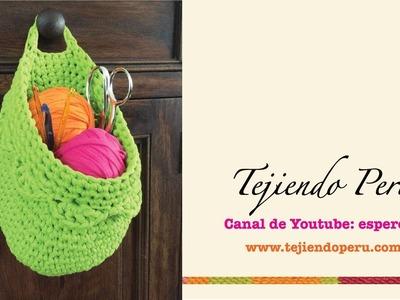 Canasta colgante organizadora tejida en crochet XL en trapillo (Crochet hanging basket tutorial)