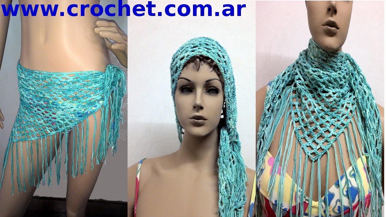 Chalina 3 Posiciones en tejido crochet tutorial paso a paso.