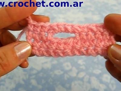 Como hacer un ojal horizontal en tejido crochet tutorial paso a paso.