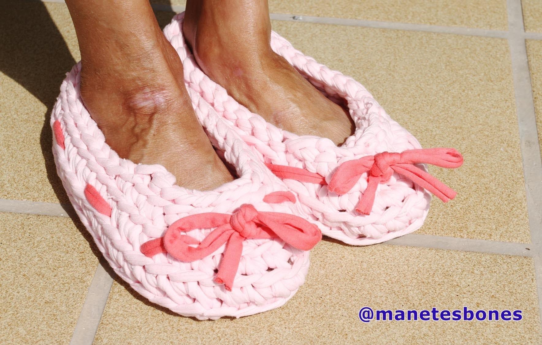 Cómo hacer zapatillas con trapillo   Tutorial DIY Crochet XXL