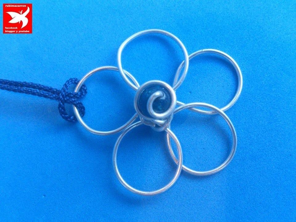 DIY: Como hacer flor de alambre (colgante de aluminio azul ) ).