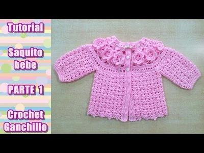 DIY Como tejer saquito, sueter, chaqueta, chambrita para bebe en crochet, ganchillo (1.4)