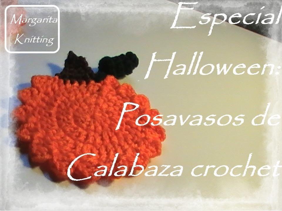 Especial Halloween: posavasos de calabaza a crochet (zurdo)