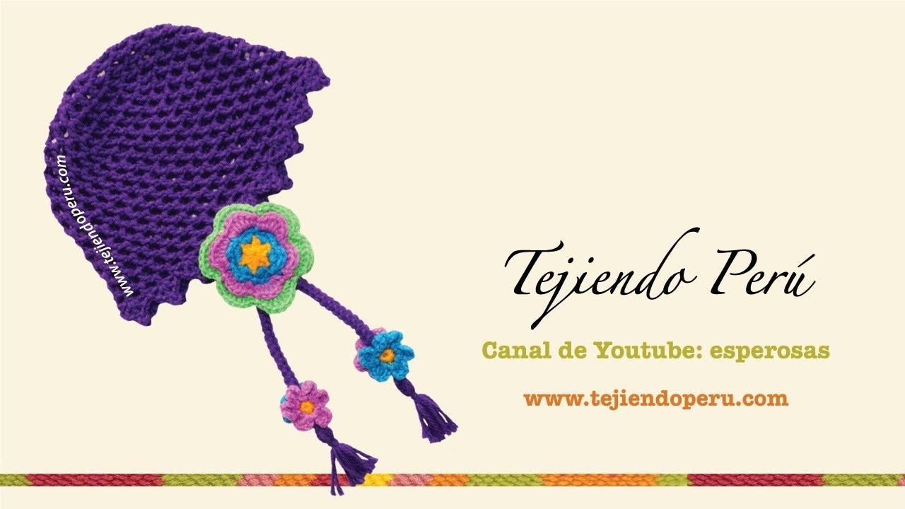 Gorro con flores tejido a crochet