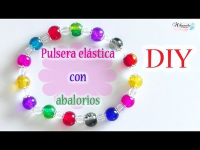 Pulsera elástica con abalorios DIY Elastic bracelet with beads. Es.pandahall.com