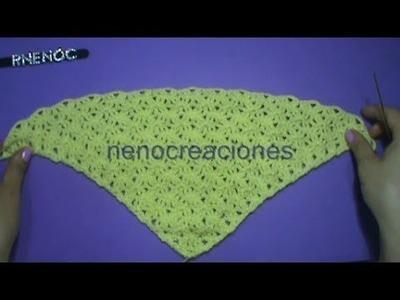 Puntada #abanico #triangular con doble punto alto #ganchillo #crochet
