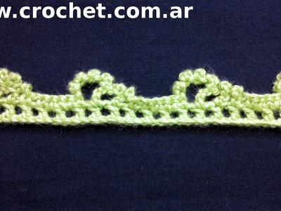 Puntilla N° 44 en tejido crochet tutorial paso a paso.