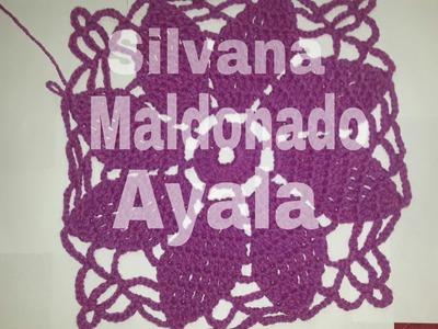 Puntos de Crochet, Cuadrado con Flor Facil Para Realizar Infinitos Trabajos