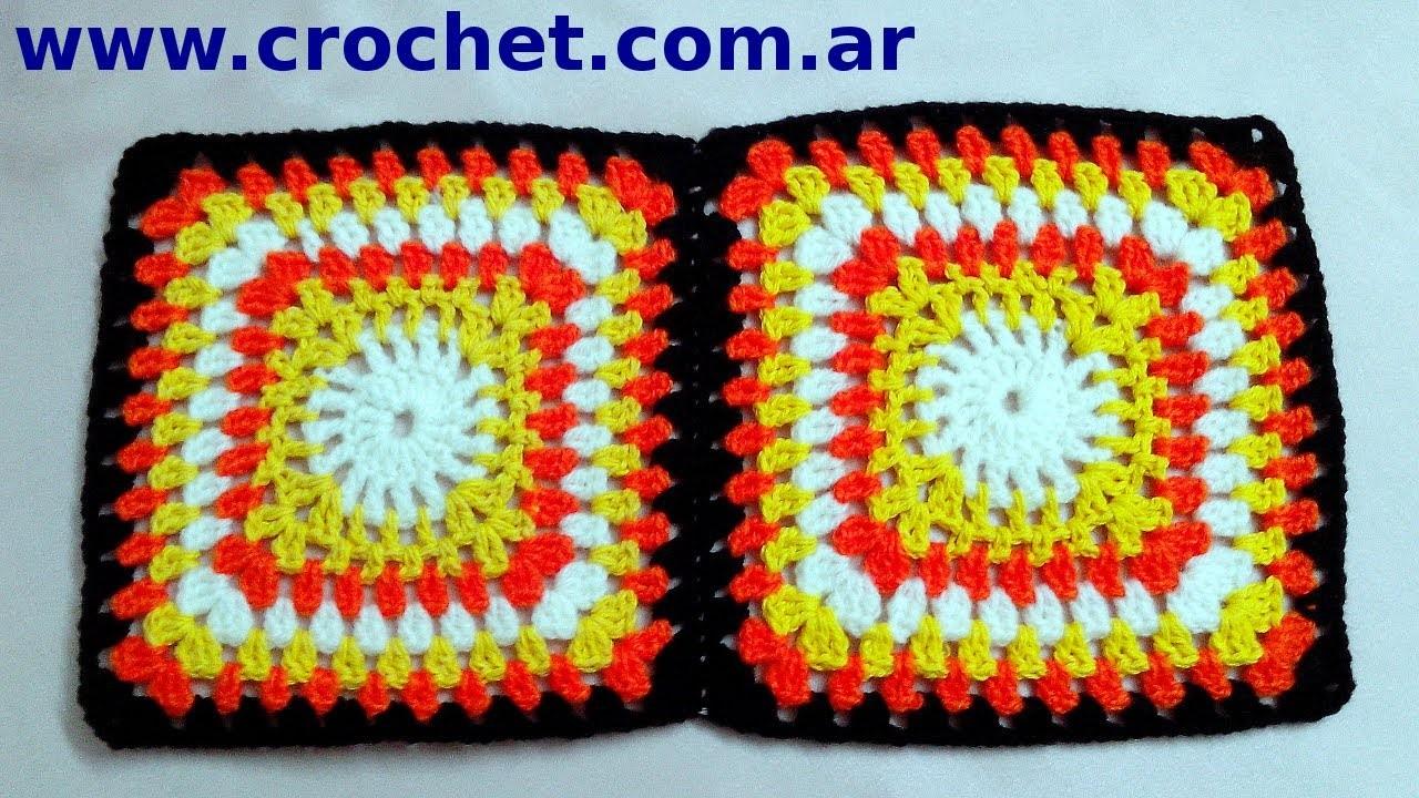 Unón Motivo N° 6 granny square en tejido crochet tutorial paso a paso.