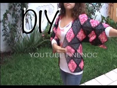 5 DE 6 COMO TEJER BLUSA SUETER CON CUADROS #ganchillo #crochet  #DIY