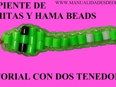 Como hacer una serpiente de gomitas y hama beads sin telar, solo con dos tenedores
