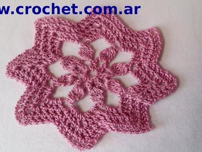 Motivo N° 4 en tejido crochet tutorial paso a paso.