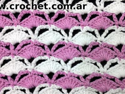 Punto Fantasía N° 32 en tejido crochet tutorial paso a paso.