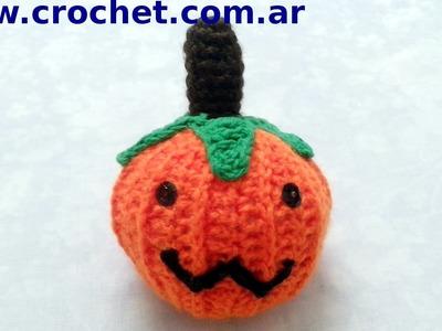 Calabaza Halloween en tejido crochet tutorial paso a paso.