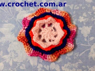 Flor N° 6 en tejido crochet tutorial paso a paso.