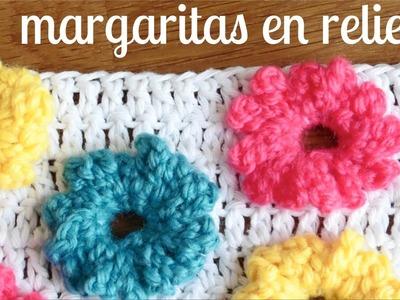 MARGARITAS en RELIEVE a crochet