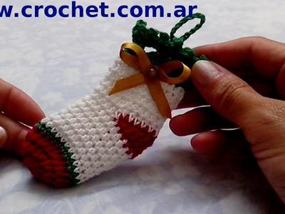 Medias de Navidad en tejido crochet tutorial paso a paso.