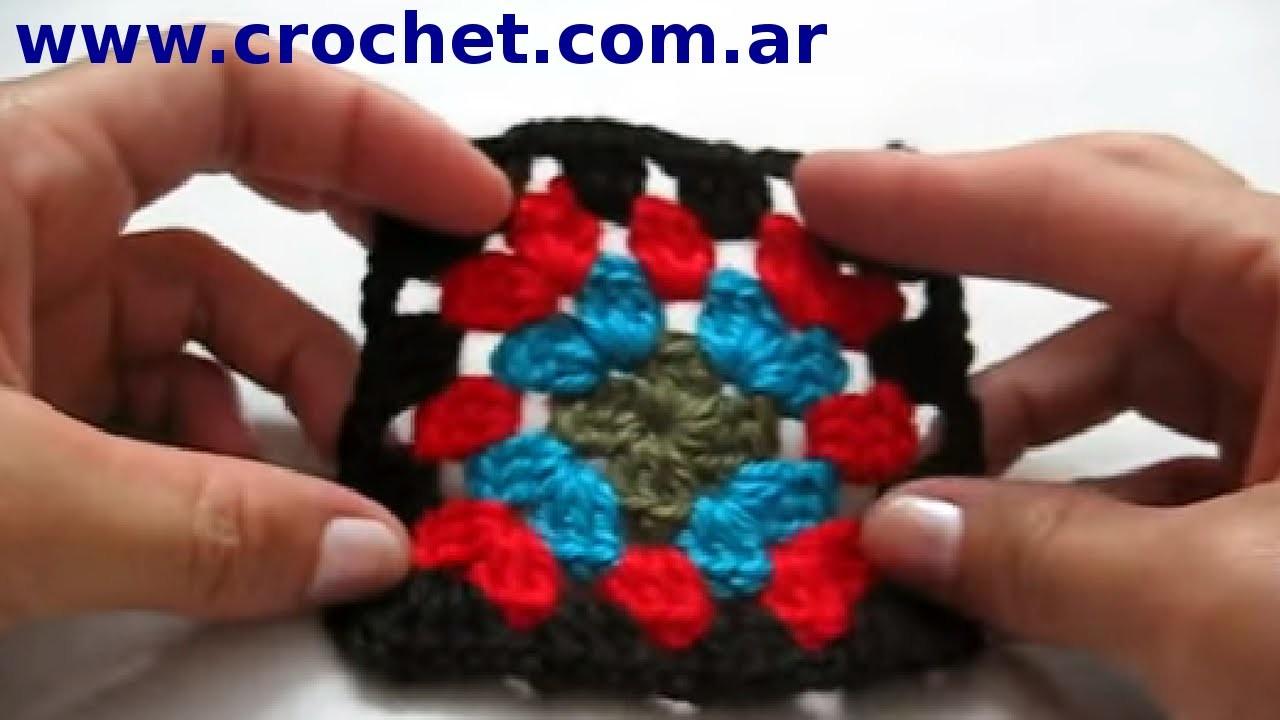 Motivo cuadrado granny N° 7 en tejido crochet tutorial paso a paso.