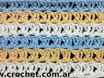 Punto Fantasía N° 20 en tejido crochet tutorial paso a paso.
