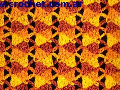 Punto fantasía N° 21 en tejido crochet tutorial paso a paso.