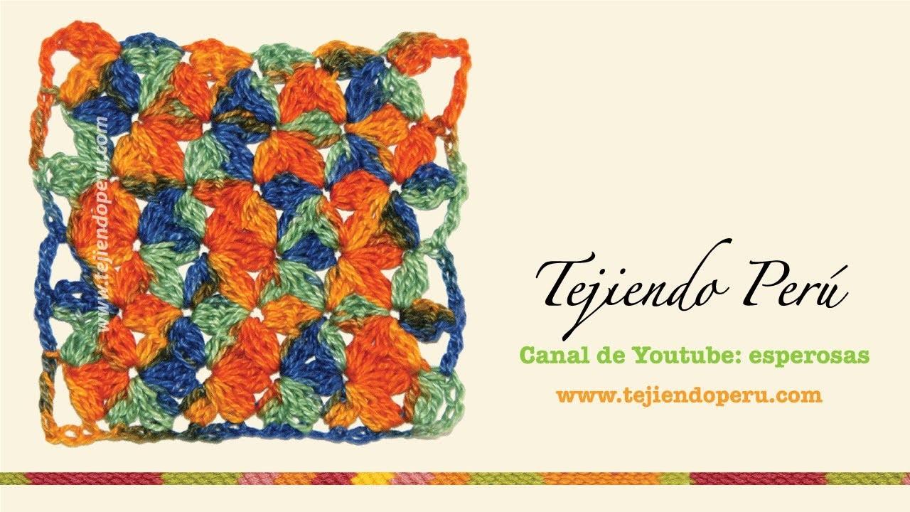 Punto jazmín en tejido en crochet.  mi versión