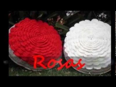 T&P Rosas - Almohadones redondos Crochet. Ganchillo