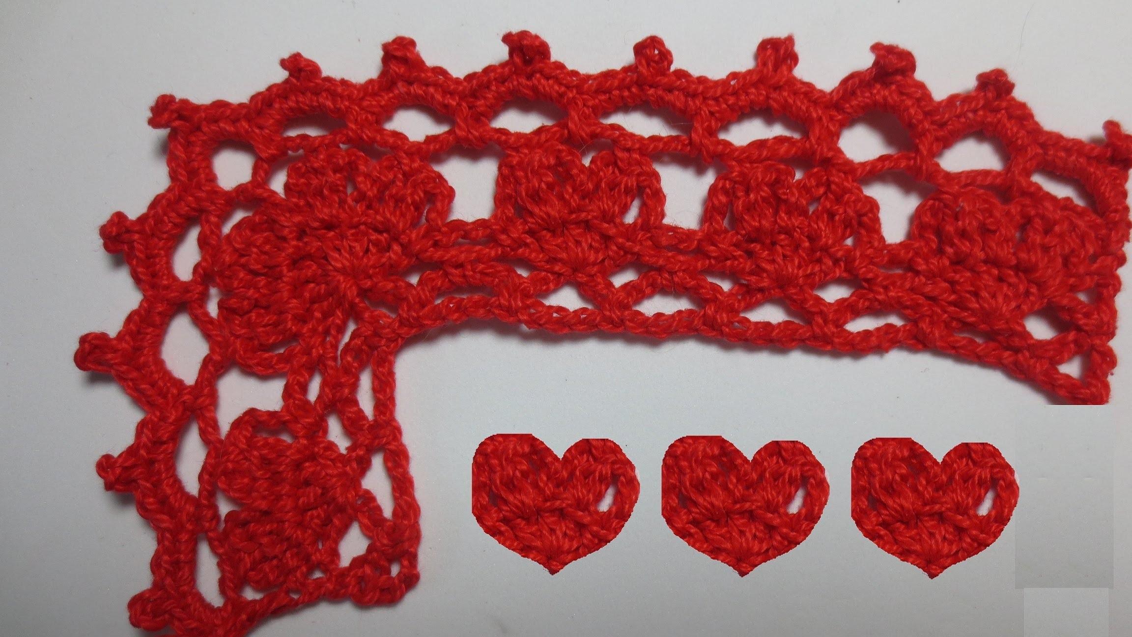 Bordures de corazones con esquina (Crochet)