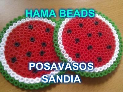 Como hacer posavaso de Sandia Hama Beads