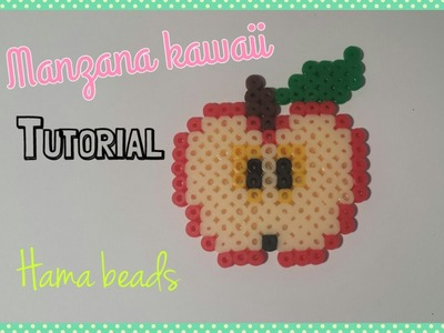 ❤ TUTORIAL: Manzana Kawaii de Hama Beads. Apple Kawaii Perler Beads ❤