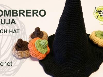 Tutorial Sombrero Bruja Crocheto o Ganchillo  Halloween