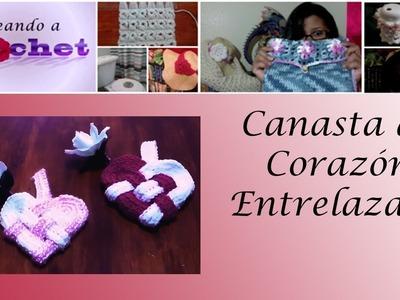 Canasta de Corazon Entrelazado en Crochet