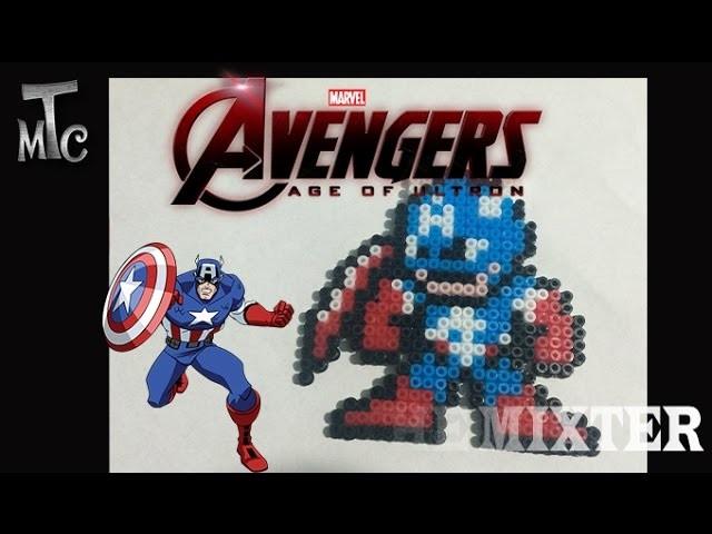 Capitan America De Hama Beads | Como Hacer Llavero Del Capitán América (The Avenger Ultron)