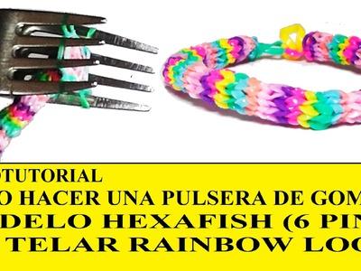 COMO HACER PULSERA HEXAFISH (6 PINS) ¡CON DOS TENEDORES! SIN TELAR TUTORIAL ESPAÑOL DIY