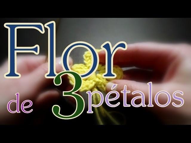 Cómo tejer una flor de tres pétalos con vareta doble (three petals flower) -tejido para zurdos-