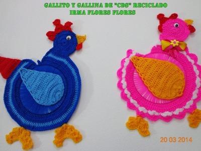 """GALLINA  TEJIDA A CROCHET DE """"CDS"""" RECICLADOS   PASO A PASO"""