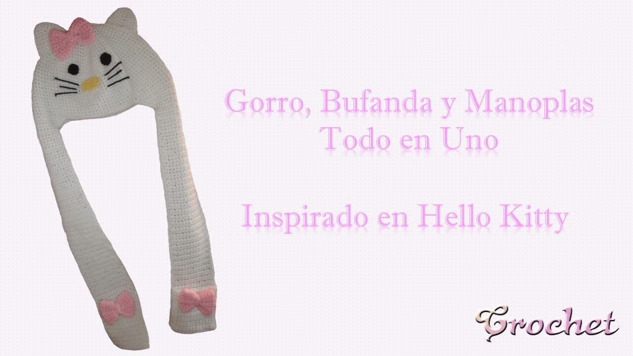Gorro, bufanda y manoplas tejidas a crochet - inspirada en Hello Kitty